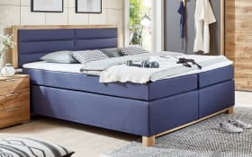 Boxspringbett Ohio in Blau/Plankeneiche-Optik
