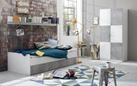 Jugendzimmer Canaria in weiß/Absetzungen in stone Nachbildung