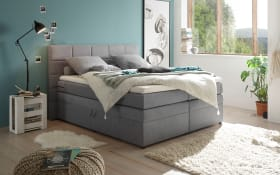 Boxspringbett Tacoma 3 in Soro grau, inklusive Bettkasten und Visco-Topper