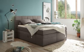 Boxspringbett Tacoma 3 in Soro stone, inklusive Bettkasten und Visco-Topper
