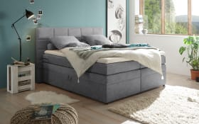 Boxspringbett Tacoma 3 in Uran dark grey, inklusive Bettkasten und Visco-Topper
