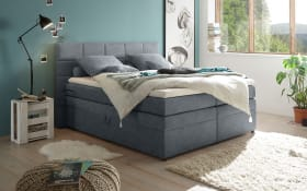 Boxspringbett Tacoma 3 in Uran anthrazit, inklusive Bettkasten und Visco-Topper
