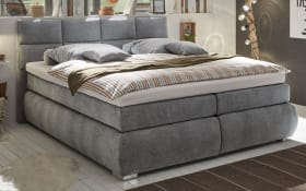 Boxspringbett Bologna 8 in dark grey, mit Bettkasten, inklusive Komfortschaum-Topper