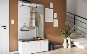 Garderobenkombination in weiß/ Navarra-Eiche-Optik