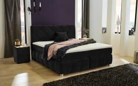 Boxspringbett Bella in schwarz, 1 x Matratze in medium & 1 x Matratze in fest