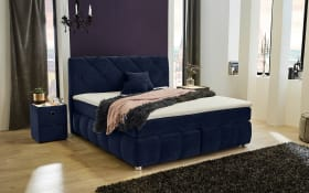 Boxspringbett Bella in blau, fest