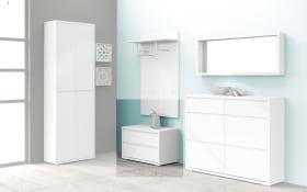 Garderobenbank Flap in weiß Hochglanz