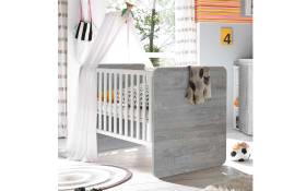 Babybett Frieda in grau/weiß