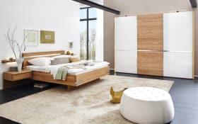 Schlafzimmer Savona Eiche massiv/Glas weiß