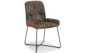 Stuhl mit Schlittengestell D1811 SLIM Nando in braun/weiß
