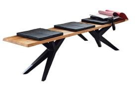 Design-Bank Tamina in Charaktereiche massiv/Eisen schwarz
