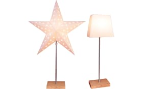 Tischleuchte Leo mit auswechselbarem Schirm/Stern in holz/weiß, 65 cm