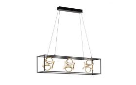 LED-Pendelleuchte Gesa in schwarz/goldfarbig, 108 cm