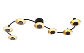 LED-Deckenleuchte Limber in schwarz/gold, 7-flammig