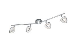LED-Deckenleuchte Tours in chromfarbig, 4-flammig