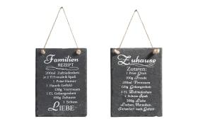 Tafel Schild Rezept Zuhause in Schiefer schwarz, 20 x 15 cm