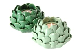 Teelichthalter Rose in grün, 9 cm