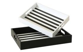 Deko-Tablett in weiß/schwarz, 40 cm