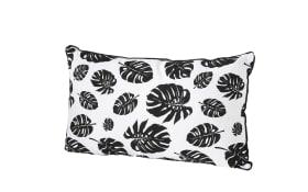 Kissen Monstera in schwarz/weiß, 50 x 30 cm