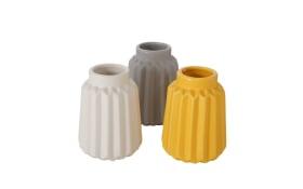 Vase Raiga in grau/weiß/gelb, 10 cm