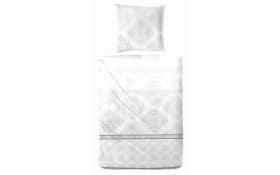 Mako-Satin Bettwäsche in weiß/düne, 135 x 200 cm