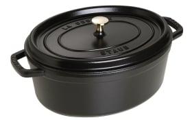 Schmortopf Cocotte in schwarz oval, 33 cm