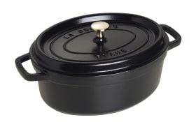 Schmortopf Cocotte in schwarz oval, 29 cm