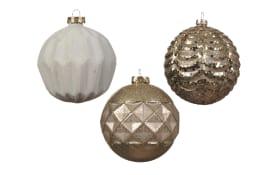 Glaskugel in weiß/perlmutt/gold, 10 cm