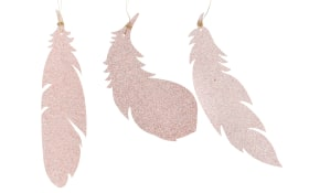 Deko Federhänger in rosa/glitter, 18 cm