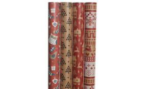 Geschenkpapier in rot/braun, 70 x 200 cm