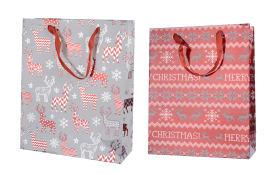 Geschenktasche aus Papier in grau/rot, 18 x 24 cm