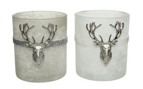 Glasteelicht mit Metallhirsch in winterweiß/grau, 9 x 10 cm