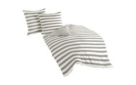 Bettwäsche Mako-Satin gestreift in silber, 135 x 200 cm