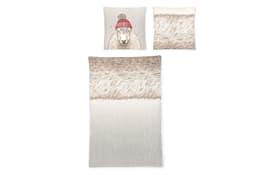 Bettwäsche Schaf in beige/braun, 135 x 200 cm