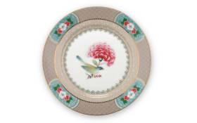 Plate Blushing Birds in khaki, 17 cm