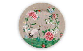 Plate Blushing Birds in khaki, 32 cm