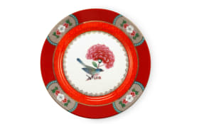 Plate Blushing Birds in rot, 17 cm