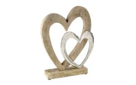 Deko Herz auf Holzfuß in silber und naturfarbend, 32 cm
