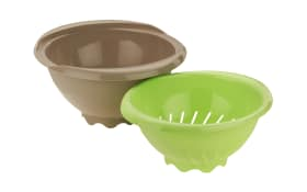 Salatschüssel Duo mit Sieb in grau/grün