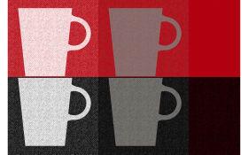 Tischset mit Tassen in rot, 28,5 x 43,5 cm