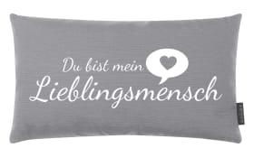 Kissen Lieblingsmensch in grau, 30 x 50 cm