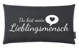 Kissen Lieblingsmensch in anthrazit, 30 x 50 cm