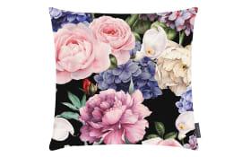 Kissenhülle Dori Digitaldruck mit schönen Blumen in schwarz, 50 x 50 cm