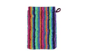 Waschhandschuh Lifestyle Streifen in multicolor dunkel, 16 x 22 cm