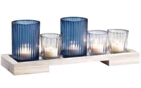 Teelichthalterset in blau, 34 cm lang