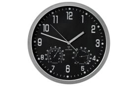 Funk-Wanduhr aus Kunststoff in schwarz, 35 cm