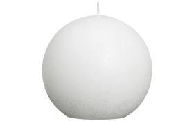 Kugelkerze Rustik in weiß, 10 cm