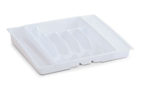 Besteckkasten Zeller ausziehbar in weiß