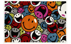 Teppich Happiness Smile in multicolor, 65 x 130 cm