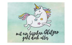 Türmatte Happy Home Einhorn in mint, 50 x 70 cm